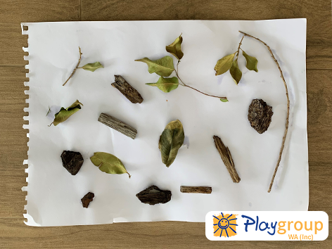 Nature collage activity is a great craft idea for early years play